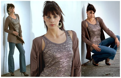 Print Shimmer Vest & Taupe Cross Over Top