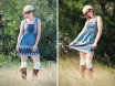Blue peachskin Dart Lace Dress