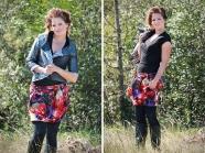 Metallic Jacket & Floral Drawstring Skirt